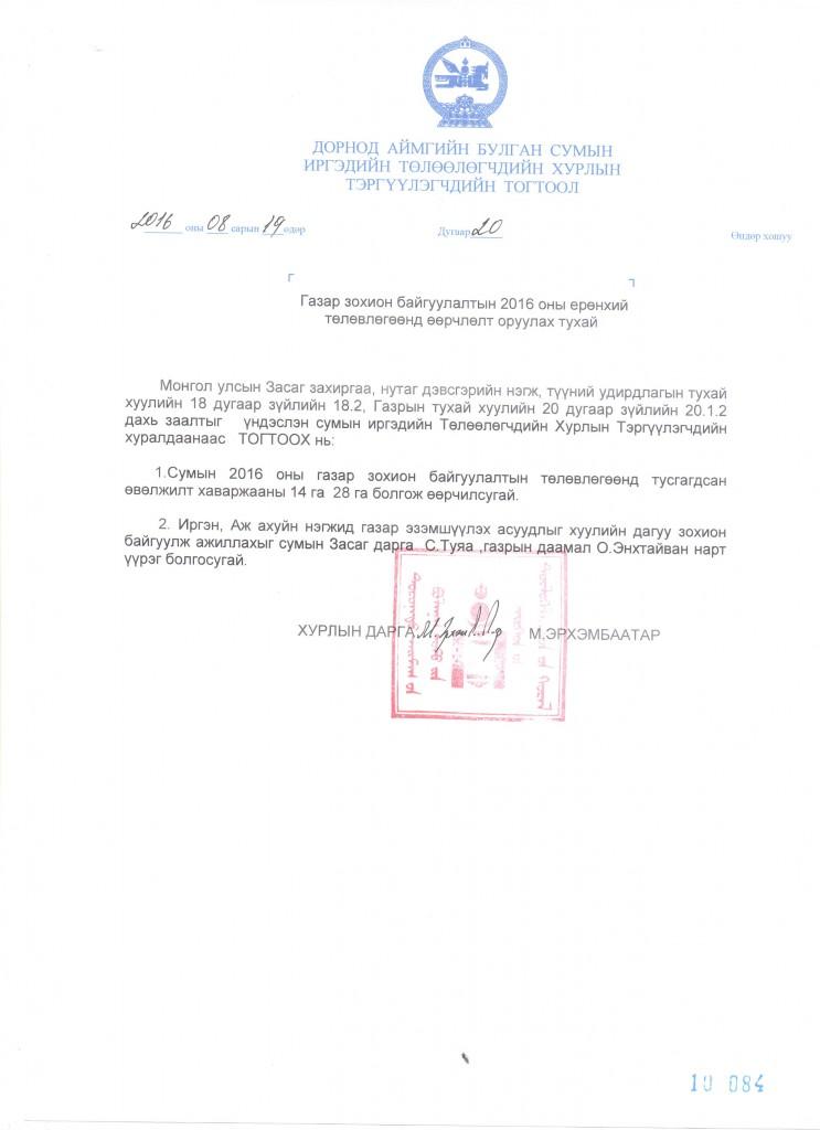 №20 Газар зохион байгуулалтын 2016 оны ерөнхий төлөвлөгөөнд өөрчлөлт оруулах тухай